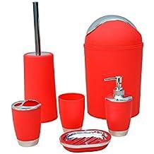 Stella - Juego de 6 accesorios de baño (papelera, jabonera, dispensador de jabón, vaso, vaso para cepillo de dientes y escobilla) - Rojo
