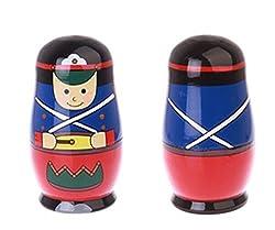 Winterworm 5pcs Cool Knight Style Nesting Dolls Matryoshka Madness Russian Doll Popular Handmade Kids Girl Gifts Toy
