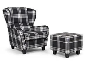 b famous ohrensessel mit hocker chris strukturstoff 92 x 90 cm braun kariert. Black Bedroom Furniture Sets. Home Design Ideas