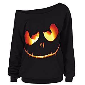 BaojunHT Women Plus Size Blouse Off Shoulder Pullover Halloween Pumpkin Print Sweatshirt