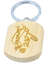 Faynci Love Forever Beautiful Design Engraved Handcrafted Wooden Key Chain
