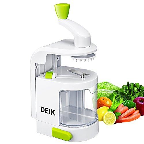 Cortador de verduras Deik Espiralizador Verduras Spiralizer Vertical con Cortes Ajustables de 4 Pasta Vegetal Maker y Mandoline Slicer para Low Carb / Paleo / Gluten Comidas Gratis