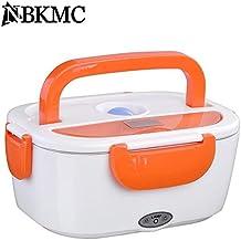 NBKMC Calentador de Comidas Calentador de Alimentos Caja de Almuerzo de Calentamiento Eléctrico Portátil con Función de Carga del coche Contenedor de PP Extraíble 1.5L, 110V-22V - Naranja