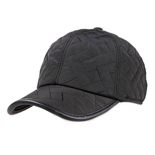 Sporty Baseballcap mit Ohrenklappen Wasserdicht Kappe Mütze Schirmmütze Ohrenschutz Basecap Wintercap Cap Wintermütze (Schwarz)