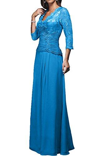 Charmant Damen 2017 Neu Dunkel Rot Chiffon Langarm Brautmutterkleider Ballkleider Abendkleider Lang A-linie Rock Blau