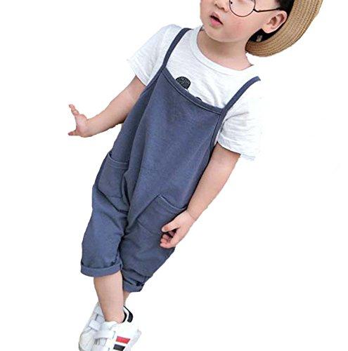 Kinder Sommerhose Baumwolle Jumpsuit Jungen Mädchen Overall Arbeitskleidung Hip-Hop Jeans Blau Tuch -