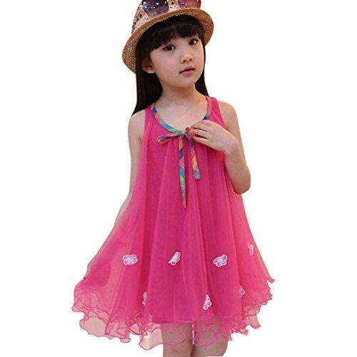 d-Mädchen Ärmellos Blumen Net Garn Spitze Tutu Rock Prinzessin Kleid 2-6 T/Jahre (Rosa, 6T) ()