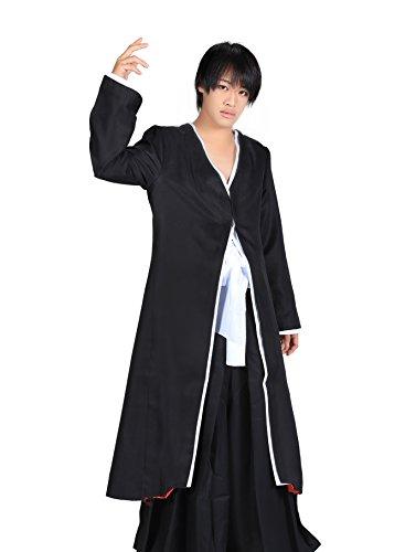 De-Cos Bleach Cosplay Costume Kurosaki Ichigo Bankai V1 Black Kimono Outfit (Ichigo Kostüm Bankai)