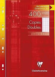 Clairefontaine 4791C - Un étui carton 400 pages Copies doubles perforées 21x29,7 cm 90g grands carreaux