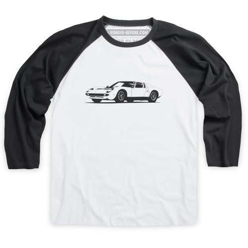 1966 Bull Super Car T-shirt da baseball, Uomo Bianco-nero