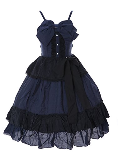 JL-651 blau schwarz Rüschen Kleid Victorian Rococo Stretch Gothic Lolita Kostüm Cosplay Kawaii-Story (Stretch (Blau Und Schwarz Kostüm Kleid)