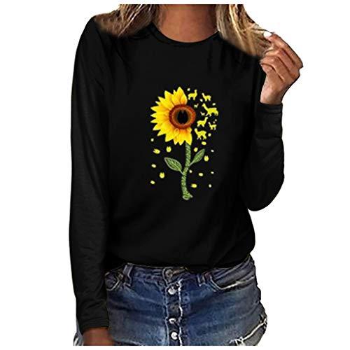GOKOMO Langärmliges T-Shirt mit großem Rundhalsausschnitt und Damenmode-Print Damenmode Plus Size Print Rundhals Langarm T-Shirt Bluse Tops(Schwarz-b,XXX-Large) -