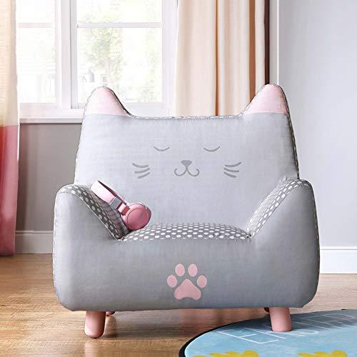 WAYERTY Kinder Sofa, Kindersessel Cartoon Mädchen Prinzessin Möbel Sitz Kleines Sofa Single Mini Kind Couch Schlafzimmer Mini-Sessel-Grau 64x54x65.5cm(25x21x26inch)