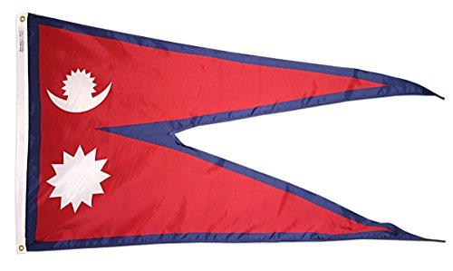 Nepal Flagge 3x 5ft. Nylon solarguard nyl-glo 100% Made in USA zu offiziellen Vereinten Nationen Design Spezifikationen von Annin flagmakers. Modell 195919