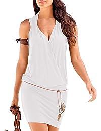 SUNNOW Tunique Robe Femmes d'été de Plage Elégant Casual Col V Profond sans Manches Mini Jupe Trapèze T-Shirt Party Crayon Robe Court Bohême Couleur Unie-avec Ceinture