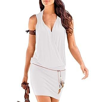 SUNNOW Elégante Tunique Robe Femmes Casual d'été sans Manches Col V Profond Robe de Plage Mini Robes T-Shirt Party Robe Court Mini Robe (S, Blanc)