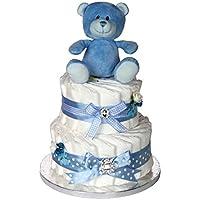 Signature Deux niveaux gâteau de couches pour bébé Bleu/Panier/Cadeau bébé/Cadeau de douche NEW ARRIVAL pour bébé/envoi rapide