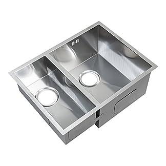 1.5 hecho a mano de cuadrada de cocina doble para el fregadero. Acero inoxidable cepillado. Montaje bajo encimera. (DEDS009 R)