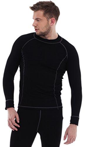 Biancheria Intima Termica Camicia Maniche Lunghe per Uomo Modello: HR54 SILVERPLUS (Nero/Grigio, XXL)