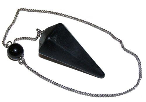 Negro Obsidiana facetado péndulo dowser en cadena de plata