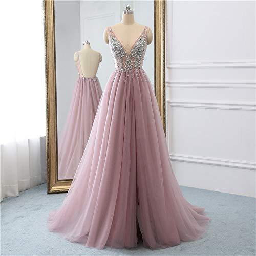 BINGQZ Damen/Elegant Kleid/Cocktailkleider Tüll Lange Ballkleider rückenfrei Sweep Zug Perlen besonderen Anlass Abendkleider nach Maß - Besonderes Ballkleid