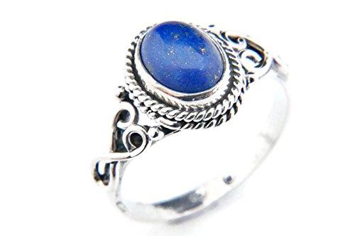 Ring Silber 925 Sterlingsilber Lapis Lazuli blau Stein (MRI 42), Ringgröße:62 mm / Ø 19.7 mm