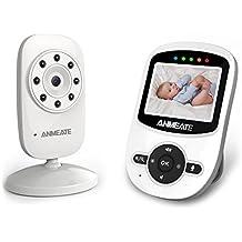 Vigilabebé Vídeo, TecnologíaInalámbrica de 2,4 GHz, Comunicación Bidireccional, Visión Nocturnal, Sensor de Temperatura, Nanas, Modo ECO Inteligente, Despertador, Alcance de Hasta 300 M-ANMEATE