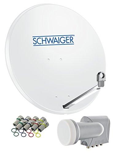 SCHWAIGER -531- Sat Anlage, Satellitenschüssel mit Quad LNB (digital) & 8 F-Steckern 7 mm, Sat Antenne aus Aluminium, Hellgrau, 74,5 x 84,5 cm