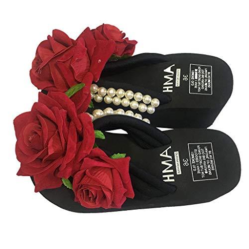 Deloito Damen Mädchen Mode Baumwollfabrik Perle mit Blumen Keile Flip Flops Einfarbig Sandalen Draussen Freizeit Hausschuhe Runder Zeh Strandschuhe (Schwarz,42 EU)