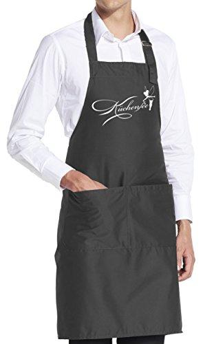vanVerden Schürze Küchenfee Kochschürze Kochen Backen Mama Geschenk inkl. Geschenkkarte, Farbe:Dark Grey (Grau)