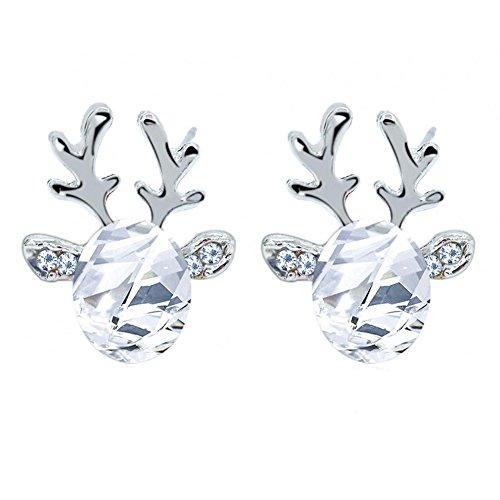Hosaire 1 Paar Damen Ohrringe Mode Elchgeweih mit Farbige Juwel Anhänger Frauen Ohrringen Schmuck Zubehör Weihnachten Ohrhänger
