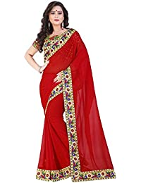 Aaradhya Fashion Women's Georgette Saree With Bhagalpuri Printed Blouse Piece