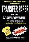 Bügelpapier, mit Laserdrucker / Kopierer bedruckbar, für T-Shirts und dunkle Stoffe, A4, 5 Stück