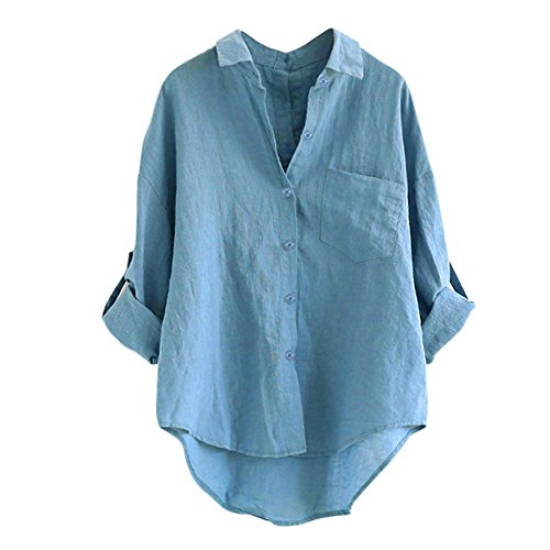 Hmeng Frauen-beiläufige Baumwolle Feste Lange Hülsen-lose Knopf-Unten Hemd-Oberseiten-Bluse (Blau, XL)