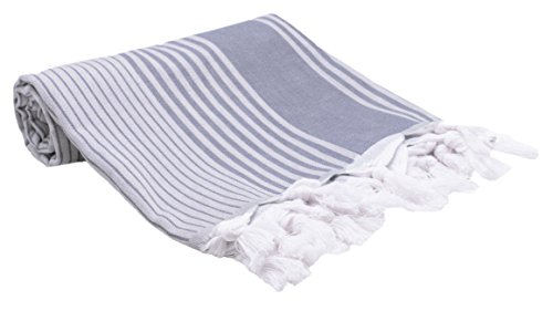 Zollner Strandtuch Hamamtuch aus Baumwolle, ca. 90x170 cm, blau-weiß-gestreift (weitere verfügbar)