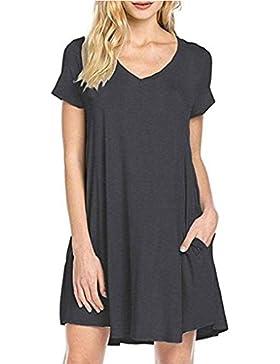 Republe Sólido verano de las mujeres con cuello en V manga corta de la muchacha de la camiseta del vestido ocasional...