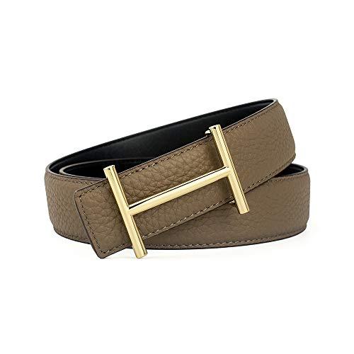 Nfghk elegante cintura da uomo in pelle, realizzata a mano, tinta unita,color5,110cm
