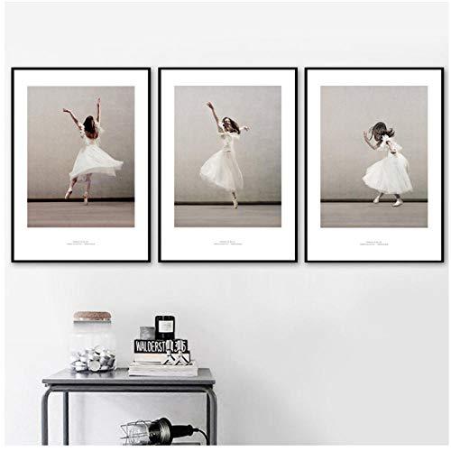xwwnzdq Ballett Mädchen Tanz Wandkunst Leinwand Poster Und Drucke Leinwand Malerei Pop Art Wandbilder Für Wohnzimmer Tanzen Raumdekor 40x60 cmx3 Kein Rahmen