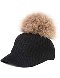 Mattelsen Gorro Invierno Mujer Calentar Sombreros Gorras de Aabrigo con  Visera y Pompón bc43a50ee4b