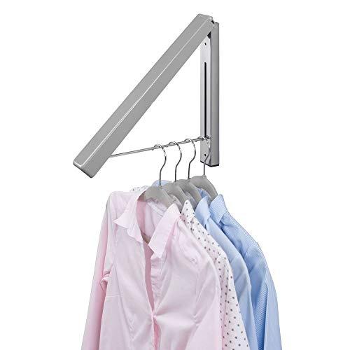 mDesign Klapphaken für die Waschküche - klappbarer Kleiderhaken aus Metall zum Trocknen von Hemden - wandmontierter Kleiderhalter für Kleiderbügel - grau