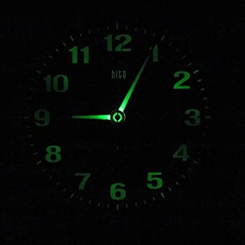HITO Silent Nonticking Wall Clock Metal Frame Glowing Hands