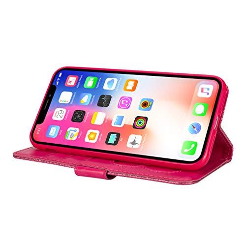 LaVibe Coque iPhone XS Max 6.5 Pouces, Housse en Cuir PU Leather Etui Portefeuille à Rabat Glitter Clapet Support Fermeture éclair Porte Video Stand, Flip Wallet Protective Case Cover–Rose Rouge