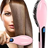 MaxelNova® Fast Hot Hair Straightener Comb Brush Lcd Screen Flat Iron Styling Hair,Light Pink