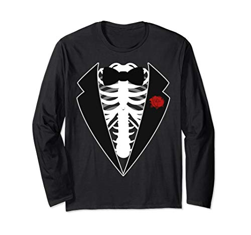 Frauen Kostüm Tuxedo - Halloween Skeleton Tuxedo Kostüm Langarmshirt
