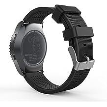 MoKo Gear S2 Classic Correa del Reloj, Reemplazo Silicona Deportiva WatchBand para Samsung Gear S2 Classic SM-R732 / R735 / Moto 360 2nd (42mmde Los Hombres 2015) & Ticwatch 2, Negro