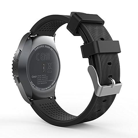 MoKo Gear S2 Classic Smartwatch Bracelet en Silicone souple pour Samsung Galaxy Gear S2 Classic SM-R732 / Moto 360 2e (Hommes : boîtier 42mm) et Ticwatch 2, NOIR