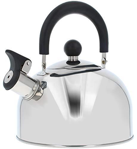 COM-FOUR® Caldera silbadora de acero inoxidable, caldera retro adecuada para todas las estufas e inducción