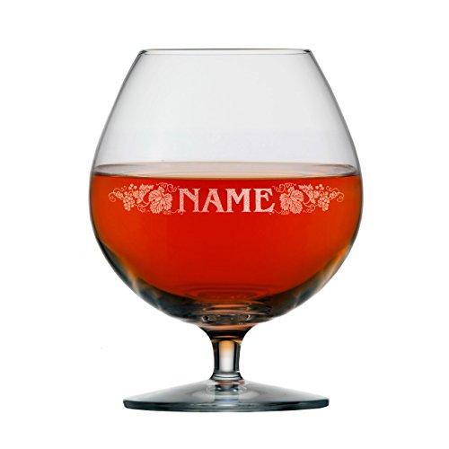 Stölzle Lausitz Cognac Glas mit Gravur des Namens Weinrebenmotiv