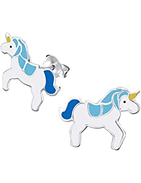 1Paar Kleine Blau Einhorn Sterling Silber Ohrringe