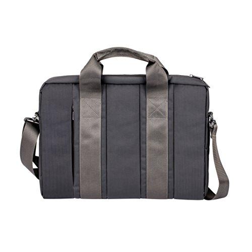 """RIVACASE Tasche für Laptops bis 15.6"""" – Kompakte Notebooktasche mit gepolsterten Seitenwänden und Zusatzfächern – Grau (Gry Messenger Laptop)"""